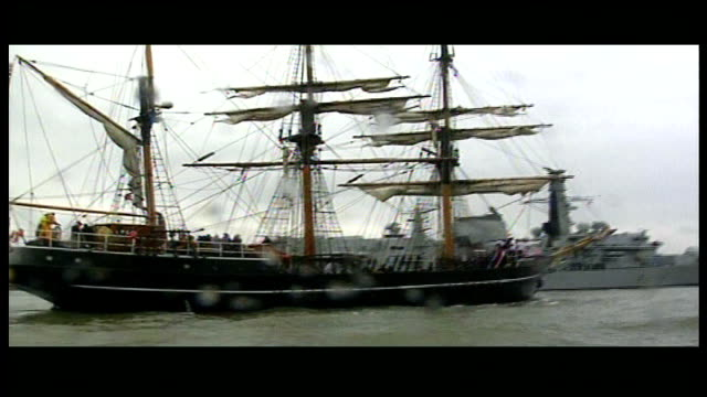 200th anniversary: replica of the zong sails up river thames; england: london: river thames: ext royal navy frigate, hms northumberland, sailing up... - slavery stock videos & royalty-free footage