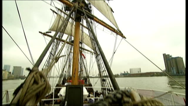 200th anniversary: replica of the zong sails up river thames; river thames: ext deck and sails of ship rigging - rigging stock videos & royalty-free footage