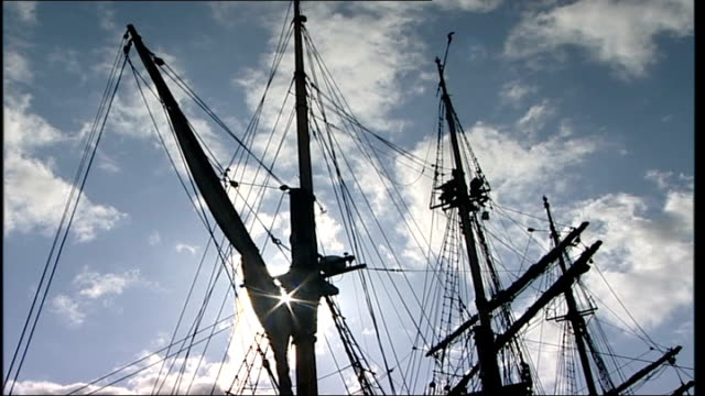 200th anniversary: replica slave trade ship; england: gloucester: ext mast of replica 18th century slave ship silhouetted against blue sky - slavery stock videos & royalty-free footage