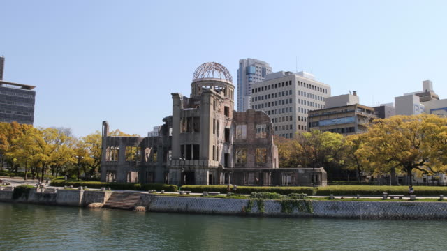 a-bomb dome and motoyasu river, hiroshima, japan - hiroshima prefecture stock videos and b-roll footage