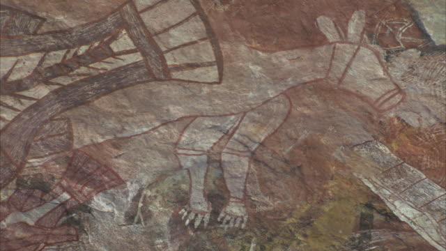 aboriginal art in the shapes of animals decorates a large rock in oenpelli, australia. - art stock videos & royalty-free footage
