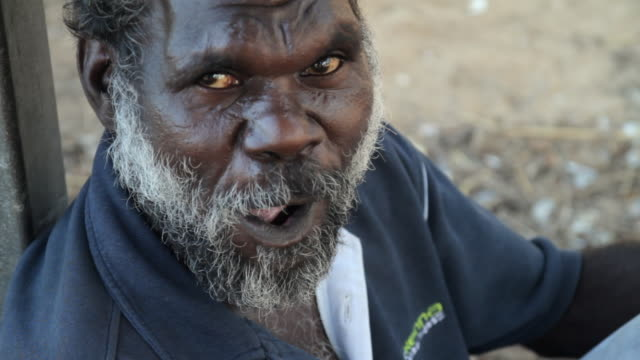 CU Aboriginal man smiling and looking / Northern Territory, Australia