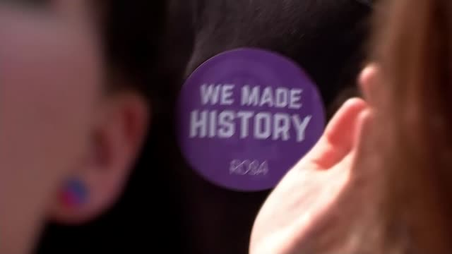 abortion law reforms in northern ireland are an issue for stormont says downing street 2652018 partly obscured shot of badge 'we made history' being... - northern ireland stock videos & royalty-free footage