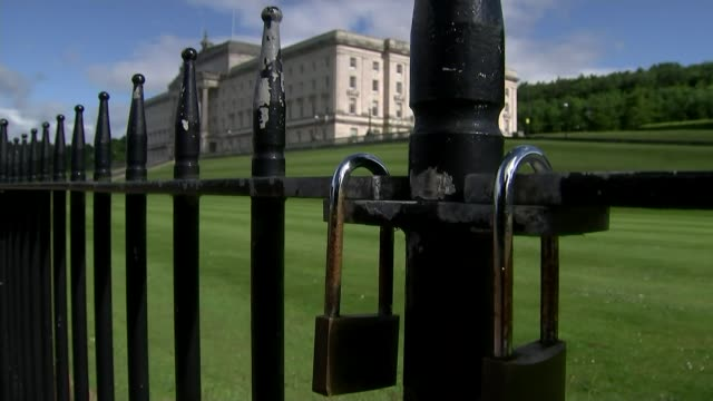 abortion law reforms in northern ireland are an issue for stormont says downing street lib / 1262017 belfast stormont estate ext padlocks on gate... - stormont stock videos and b-roll footage
