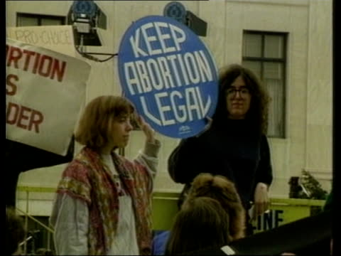 Abortion laws Demos banners Interview Eleanor Smeal National Organiser for Women SOF Poor young will suffer from change in law as won't know where to...
