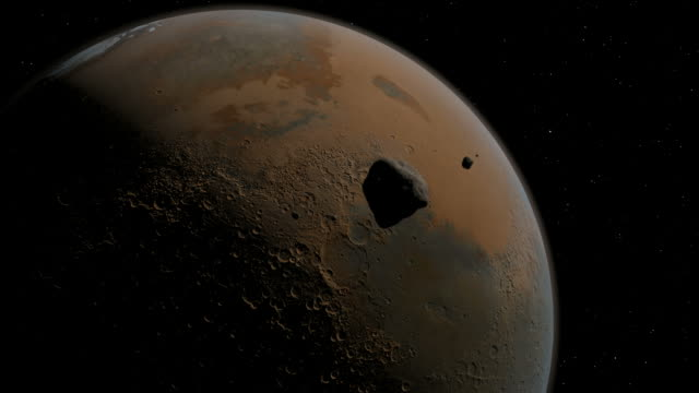vídeos de stock e filmes b-roll de about 15 million years ago, an asteroid impacted the surface of mars and sent debris flying into space. - marte planeta