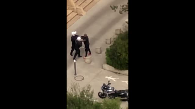 about 15 residents attacked policemen with fireworks during a quarantine containment patrol in noisy-le-grand, a suburb of paris, on may 3, according... - https stock-videos und b-roll-filmmaterial
