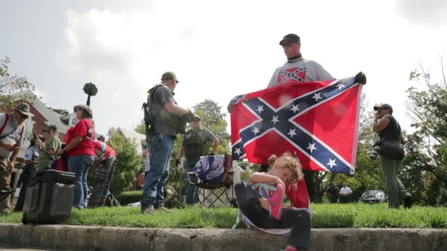 about 20 members and supporters of confederate heritage groups including csa ii the new confederate states of america and the virginia task force of... - confederate flag stock videos & royalty-free footage