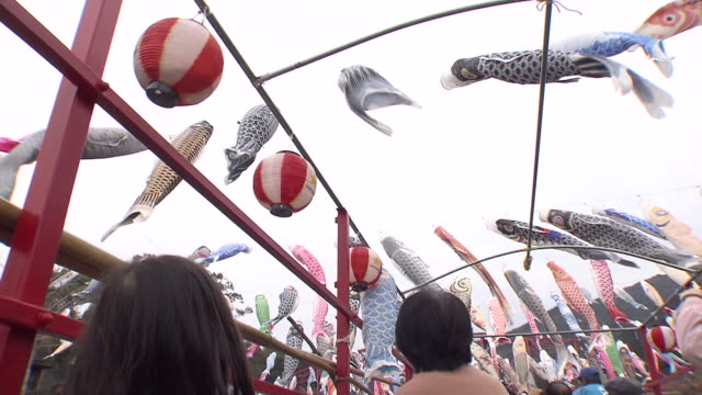 About 300 colorful carp streamers are waving in the spring wind at the Kanjin Bridge that runs across the Kase River Saga You can have fun riding the...