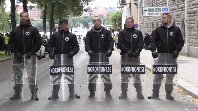 about 300 people from the neonazi movement nordiska motstandsrorelsen demonstrate in stockholm two weeks before the general election for which nmr... - nazism stock videos & royalty-free footage