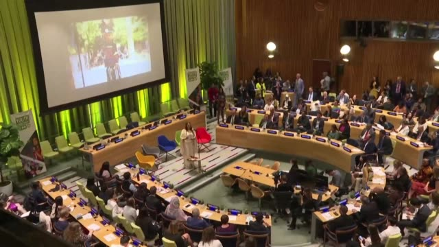 about 500 young activists and entrepreneurs take part in a meeting organised by the united nations days before a climate action summit which un chief... - climate action stock videos & royalty-free footage