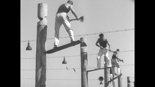 about six men stand on removable boards stuck in poles as they chop poles in chopping contest, second man over vic summers from queensland wins /... - pitchfork stock videos & royalty-free footage