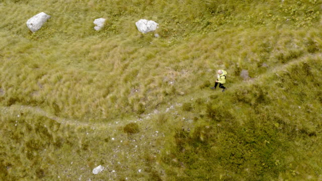 aerial above a senior runner running across a meadow high in the mountains - cespuglio video stock e b–roll