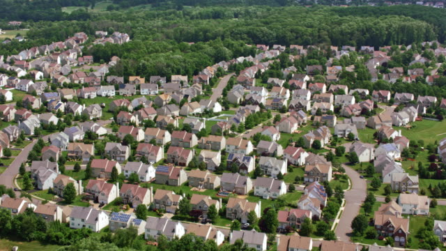 aerial above a tract housing - new jersey stock videos & royalty-free footage