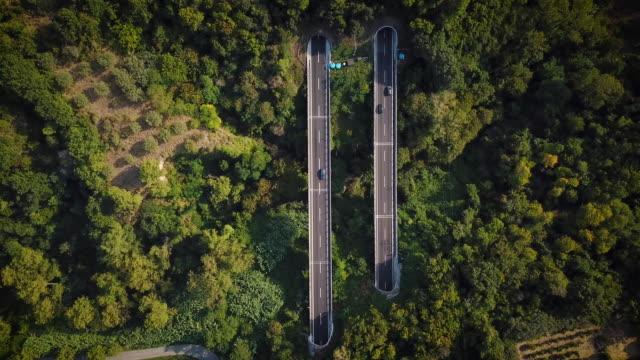 sopra la vista aerea della strada autostradale nella natura con albero verde - autostrada video stock e b–roll
