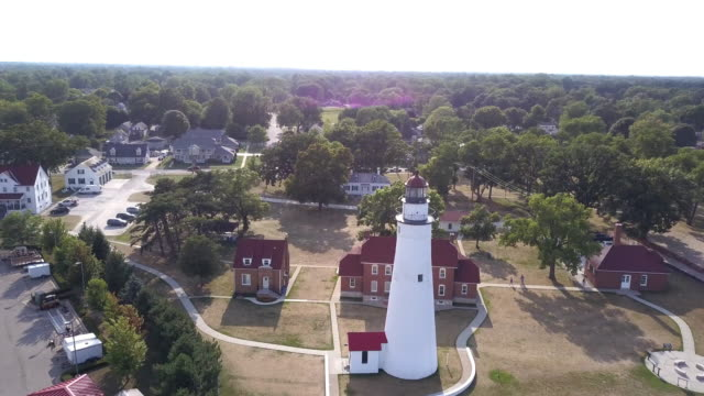 above aerial view of the lighthouse at fort gratiot in port huron, lake huron - michigan stock videos & royalty-free footage
