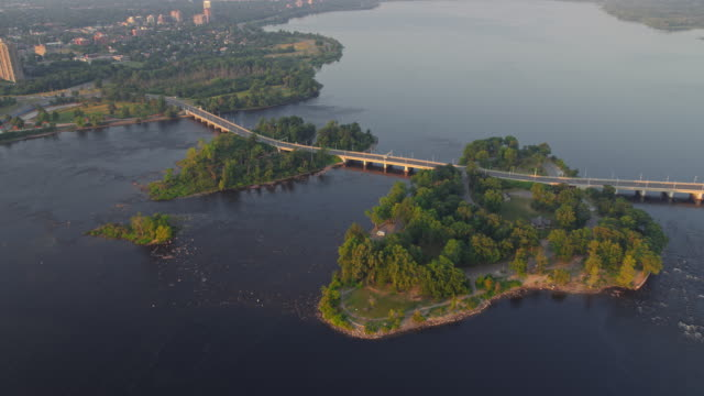 aerial above champlain bridge and the islands - ottawa stock videos & royalty-free footage