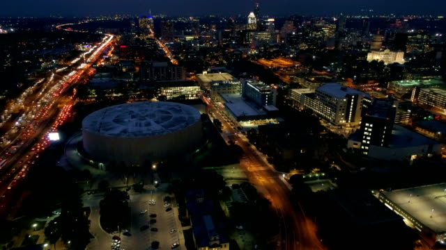 Above City lights at Night in Austin , Texas