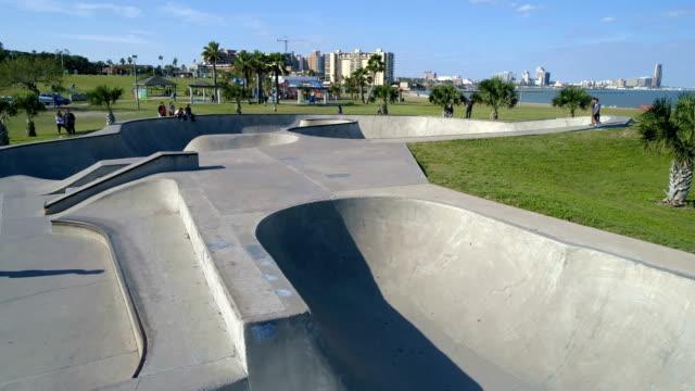 above concrete skateboard park area corpus christi , texas , usa aerial drone view - half pipe stock videos & royalty-free footage