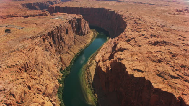 aerial above glen canyon in sunshine - river colorado stock videos & royalty-free footage
