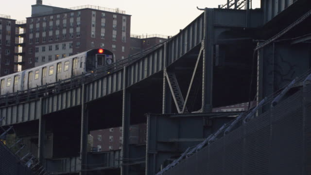 above ground new york train - commuter train stock videos & royalty-free footage