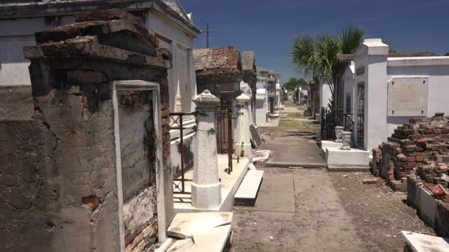 Above ground tombs in historic Saint Louis Cemetery in the French Quarter of New Orleans, Louisiana