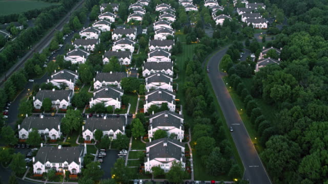 AERIAL Above houses in the suburbs