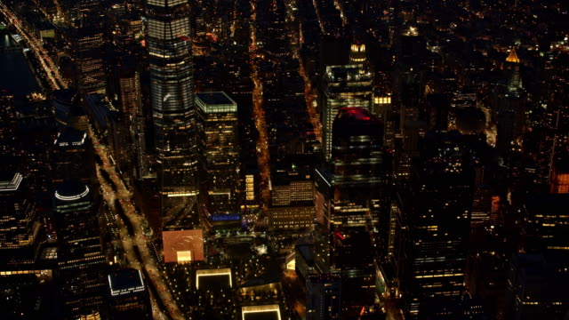 aerial above lower manhattan at night - new york stock videos & royalty-free footage