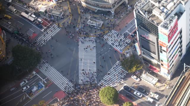 vídeos y material grabado en eventos de stock de por encima del cruce de shibuya - cruce de autopista
