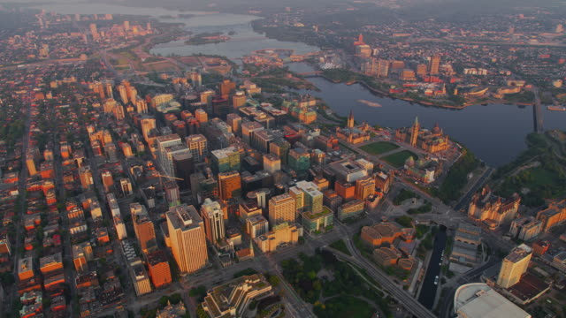 aerial above ottawa at sunrise - gatineau stock videos & royalty-free footage