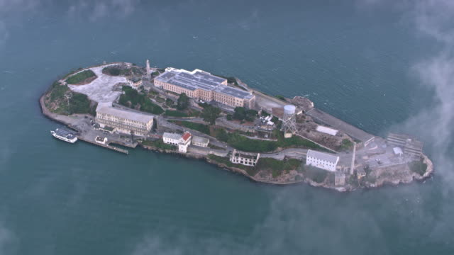 aerial above the alcatraz island - alcatraz island stock videos & royalty-free footage
