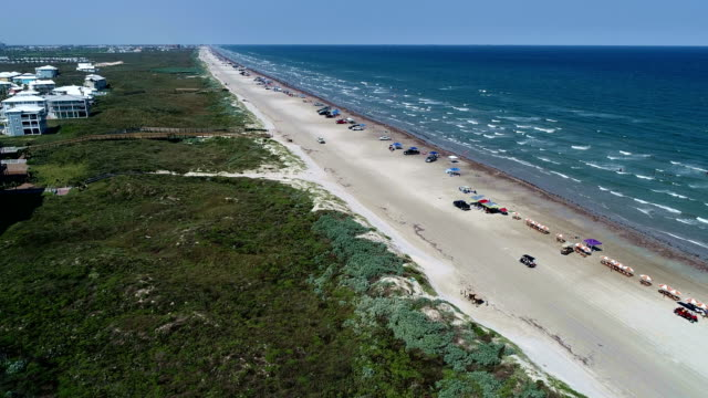 Above the Beach on Port Aransas , Texas along Padre Island as waves come in off the Gulf of Mexico