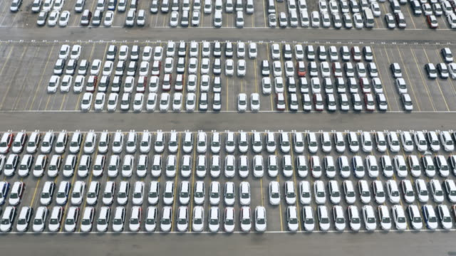 aerial above the cars at a car terminal - automobile industry stock videos & royalty-free footage