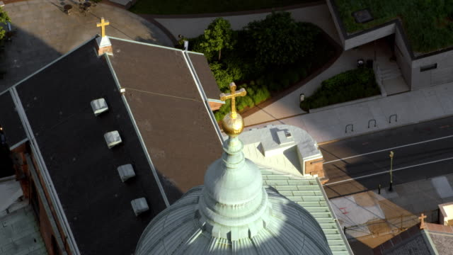 aerial above the cathedral basilica of saints peter and paul in philadelphia, pennsylvania - church stock videos & royalty-free footage