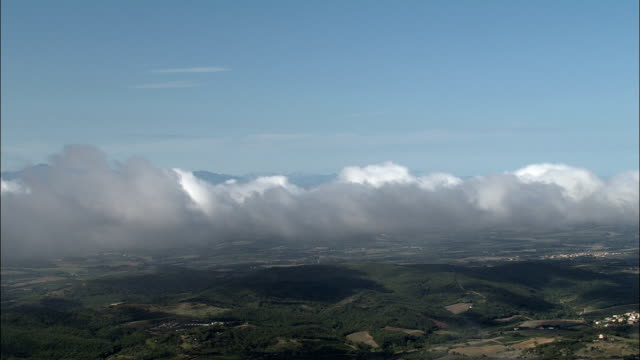 above the clouds  - aerial view - languedoc-roussillon, aude, arrondissement de limoux, france - aude stock videos & royalty-free footage