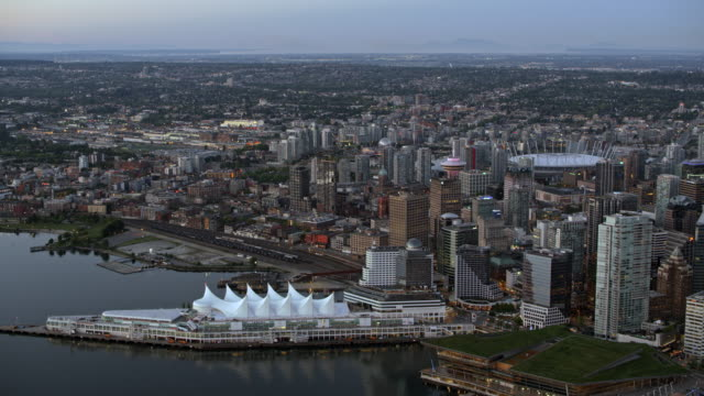 AERIAL Above the Downtown Vancouver