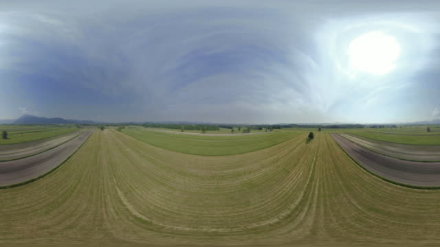 AERIAL VR 360: Above the fields in sunshine