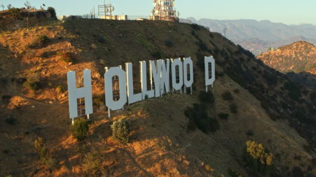 AERIAL Above the Hollywood sign in LA, CA