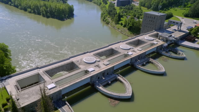 AERIAL Above the hydroelectric power plant structure on Drava River in Maribor, Slovenia