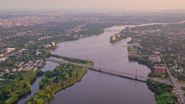 aerial above the prairie rivers running between montreal and laval in canada - montreal video stock e b–roll