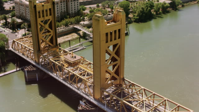 AERIAL Above the Tower Bridge in Sacramento, CA