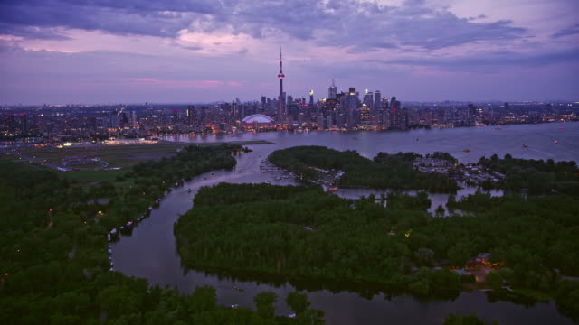 aerial above toronto islands towards downtown toronto in the evening - ontario canada stock videos & royalty-free footage