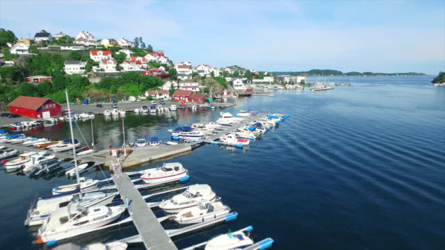 above tranquil kragero harbor - telemark stock videos and b-roll footage
