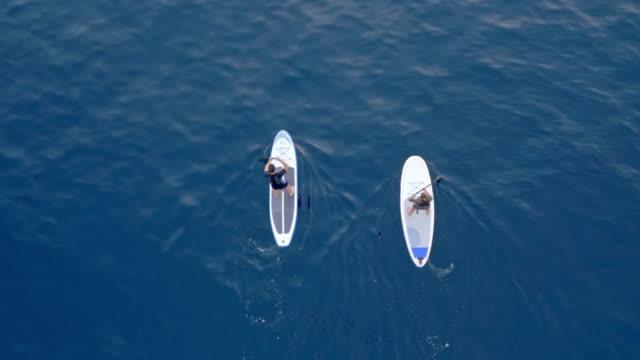 Antenne über zwei Menschen, die auf ihre SUPs in einem tiefblauen Meer paddeln
