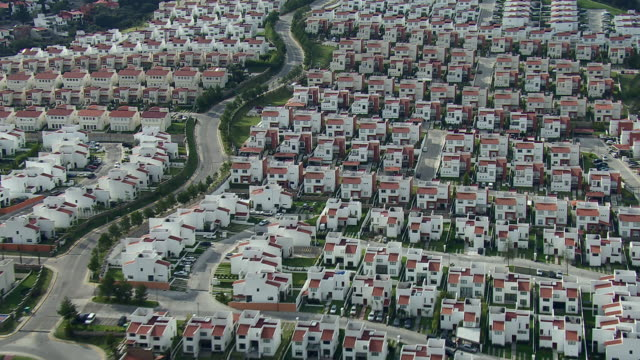 Above view of similar town homes in Mexico City.