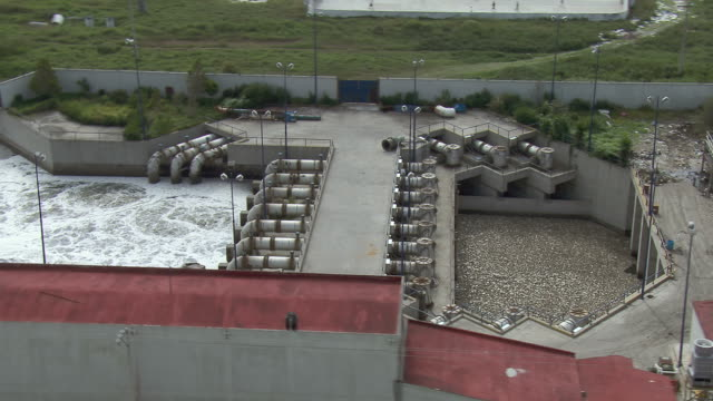 Above view of wastewater treatment plant in Ecatepec, Mexico.