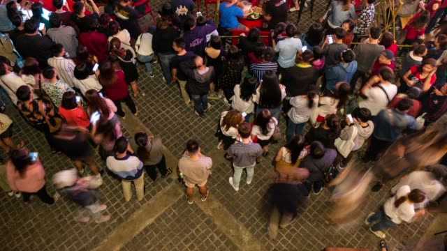 above view time lapse of crowd at night - fasting activity stock videos & royalty-free footage