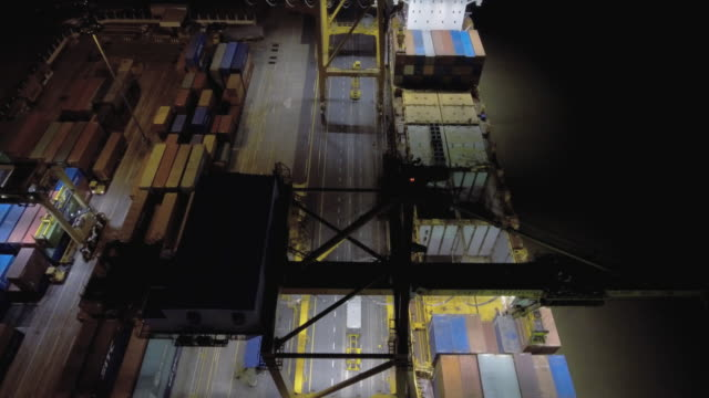 AERIAL above:View of Transport Container at night