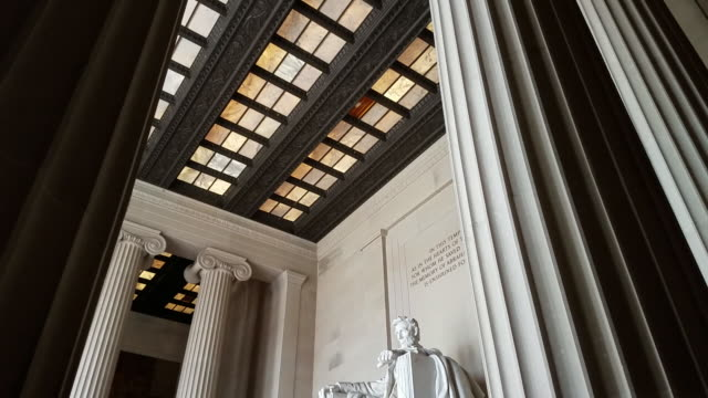 abraham lincoln statue inside the lincoln memorial in washington, dc - human rights stock videos & royalty-free footage