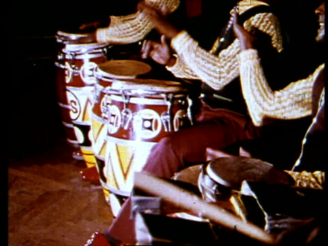 abreu brothers in the percussion band, los papines, play drums and sing. cuba, 1971 - drum percussion instrument stock videos & royalty-free footage